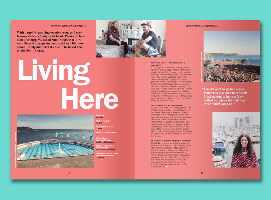 freelance copywriting work for Plymouth College of Art