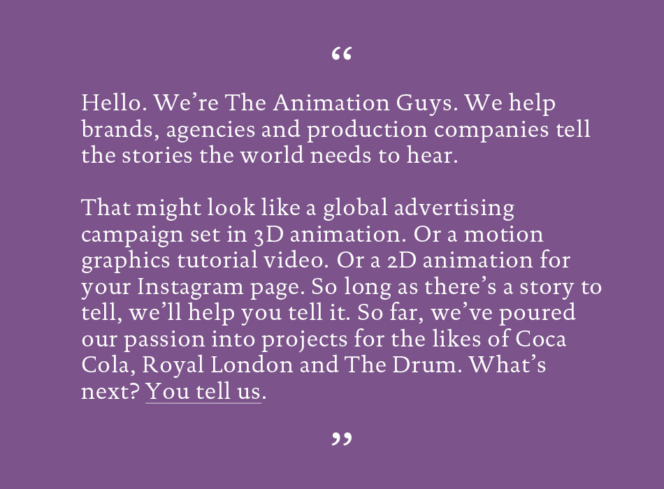 freelance copywriting work for The Animation Guys